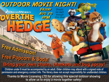 Over the Hedge Outdoor Movie August 20, 8 pm